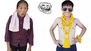 Hưng Vlog - Rick Kid Đeo 10Kg Vàng Nên Cổ Troll Mẹ Bà Tân Vlog   Prank Mom