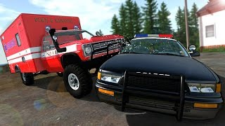 OFF-ROAD AMBULANCE VS POLICE IS A BAD IDEA! - BeamNG Gameplay & Crashes - Cop Escape