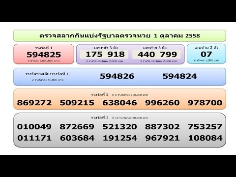 ใบตรวจหวย ตรวจสลากกินแบ่งรัฐบาล วันที่ 1 ตุลาคม 2558 Lotto