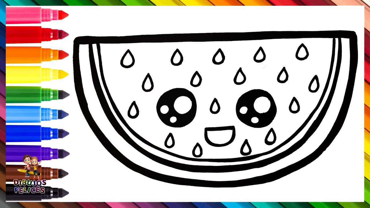 Cómo Dibujar Una Sandia 🍉 Dibuja y Colorea Una Linda Sandia Arcoiris 🌈 Dibujos Para Niños