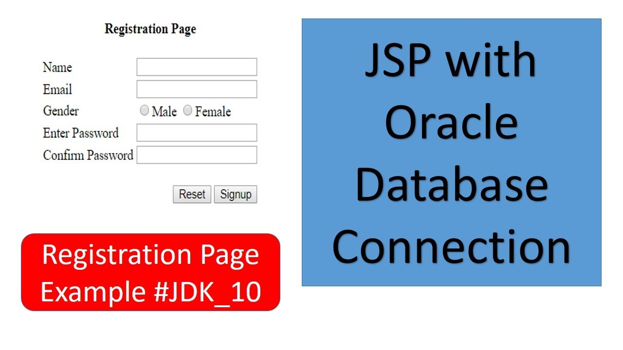 JSP with Oracle Database connection || Registration Page Example