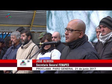 PIT-CNT José Olivera Proclama Paro 21-6-2016
