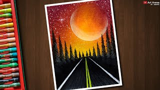 Drawing for Beginners with Oil Pastels - Red Night Road Scenery - Step by Step