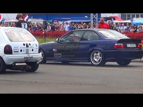 BMW M3 E36 Vs Opel Corsa B (wins) - 1/4 Mile Drag Race Viertelmeile Rennen Nice Acceleration Sound