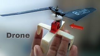 How to make a helicopter drone using ice-cream sticks || Single blade ufo drone