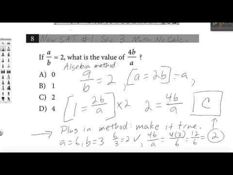 New SAT Test 1 sec 3 math #8: Plugging In vs. Traditional Algebra ...
