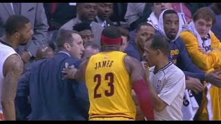 lebron james pushes coach david blatt while arguing foul call cleveland cavaliers at phoenix suns