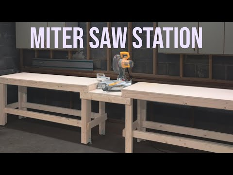 Quick and Easy Miter Saw Station Workbench // Woodworking DIY Project