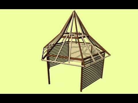 Extructura kiosco guadua doovi for Como hacer un kiosco de madera