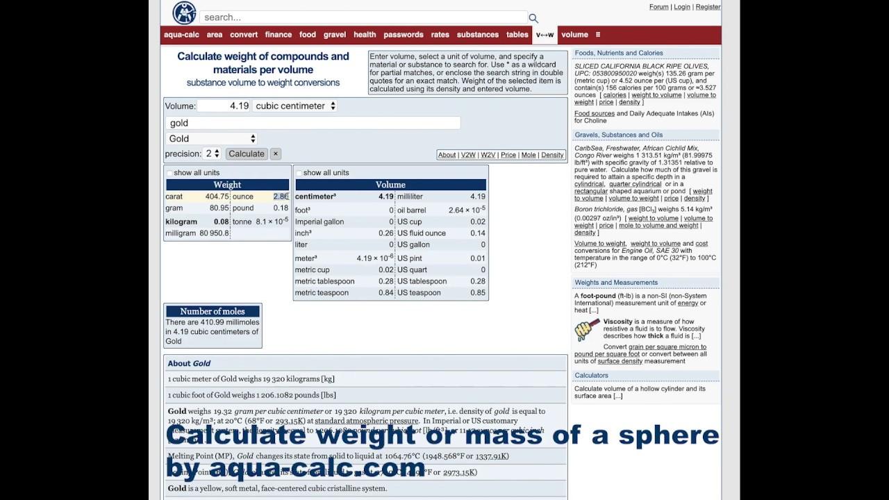 Aqua Calccom Calculate Mass Or Weight Of A Sphere