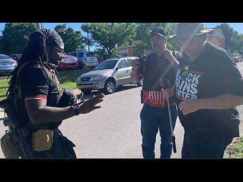 """""""White"""" men showing up to the Black Guns March in Tulsa OK"""