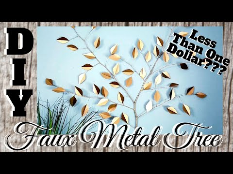 DIY GOLD FAUX METAL TREE WALL ART DECOR || FOR LESS THAN A BUCK!