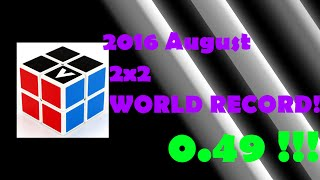 0.49 Official 2x2 Rubik's Cube WORLD RECORD NEW 2016 August SLOW MOTION