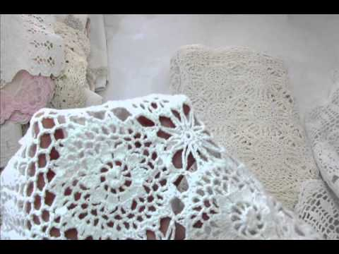 Thrifting Haul doilies, curtains, materials and trim