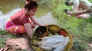 Primitive Beautiful Girl Cooking Chicken Recipe On The River In Forest