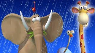 Газун: Животные, играющие под дождем | Мультфильмы для детей | Мультфильмы о джунглях