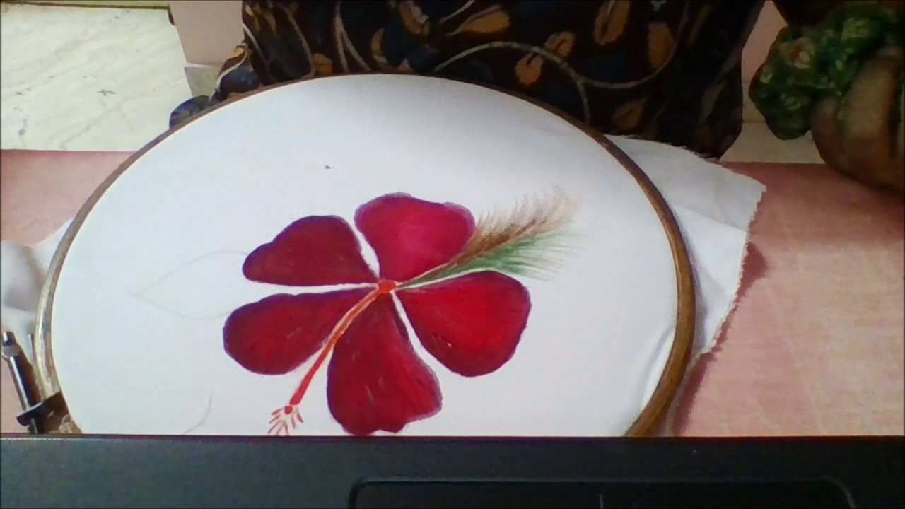 Fabric Painting Hibiscus Flower Design Youtube