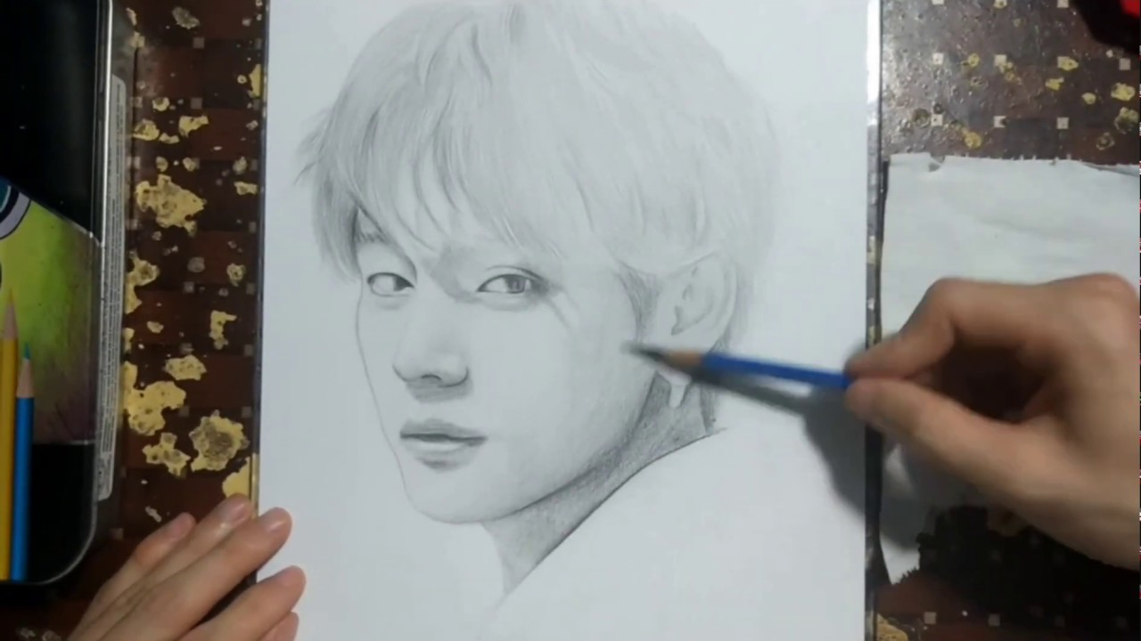 Drawing BTS: V (김태형) Boy With Luv | Vẽ Tranh Chân Dung /Drawing Khanhnguyen