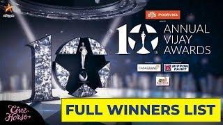 10th Annual Vijay Awards FULL WINNERS LIST
