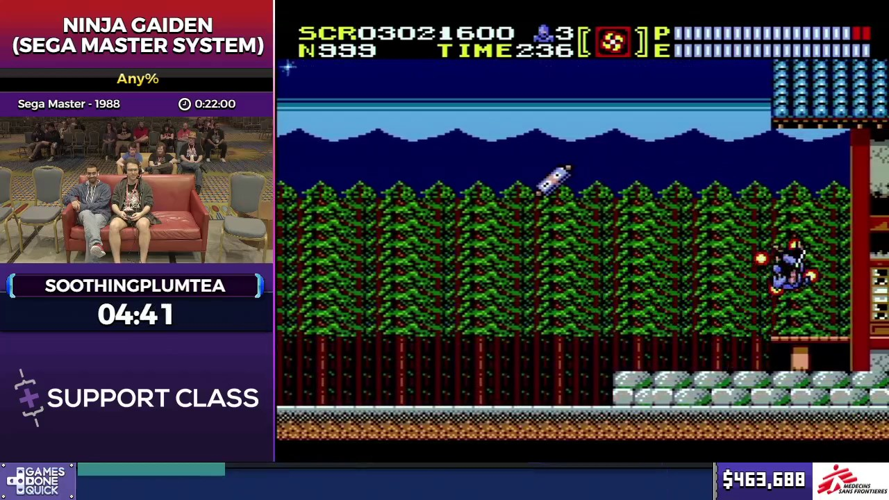 Ninja Gaiden Sega Master System By Soothingplumtea In 18 22 Sgdq2017 Part 60 Youtube