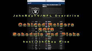 NFL Overdrive's 2019 Oakland Raiders Schedule/Predictions