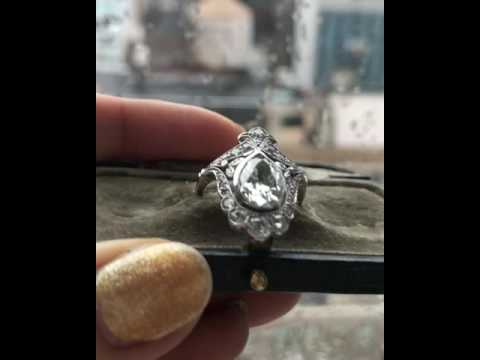 Antique Pear Diamond Engagement Ring