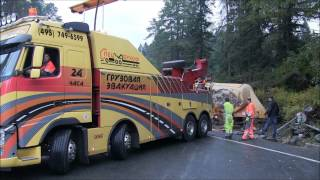Эвакуация грузового автомобиля. Груженого цементовоза.(, 2014-11-23T16:46:47.000Z)