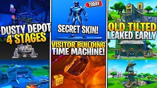 *NEW* Fortnite: Leaked Dusty Depot 4 STAGES! *Visitor BEACON*, Secret FREE Skin, TILTED TOWN EARLY!