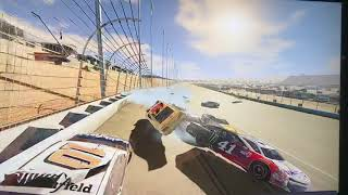 Joey Logano Flying through the air.   (Xbox 1 game play)
