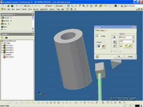 Autodesk Inventor 11 Tutorial 6 Quot Extrude Cut Quot Youtube