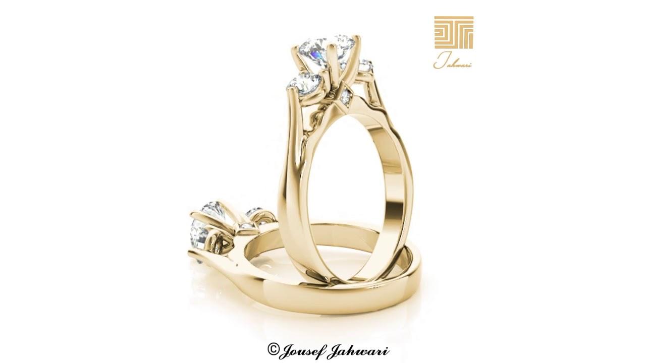 bd7ec906da252 خاتم الماس سوليتير التاج ذهب أصفر - YouTube