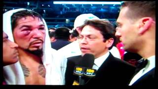 Antonio Margarito being interviewd after Manny Destroyed him
