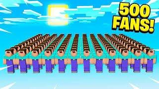 500 FANS vs INVISIBLE MINECRAFT WORLD!