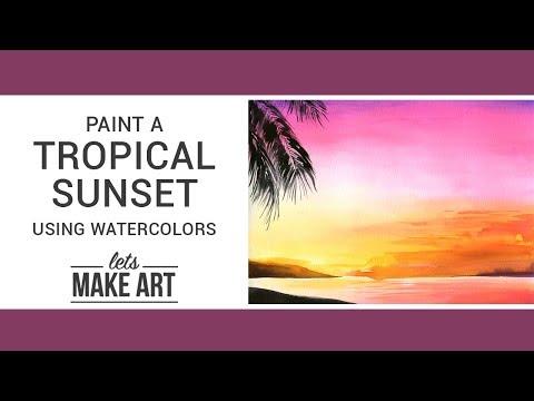 Tropical Sunset Watercolor Art Tutorial