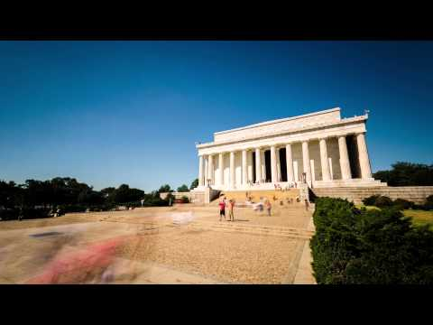 Timelapse of Tourists at the Lincoln Memorial, Washington DC