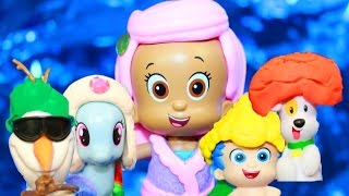Play-Doh Bubble Guppies Mermaid Molly Hair Salon Gil Bubble Puppy Olaf MLP LPS Toy Funny Video