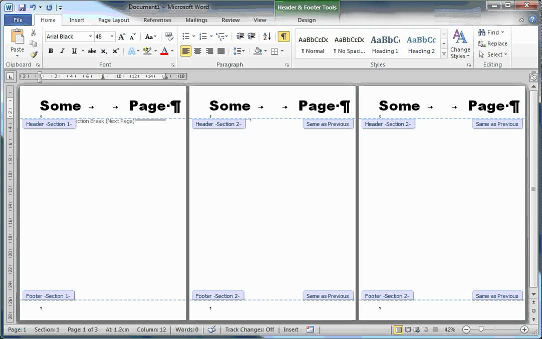 Page Numbering, Headers, Cover Pages And Sections In MS