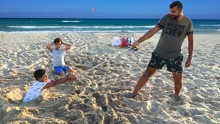 I am stuck in the sand,kids pretend play funny videos for kids