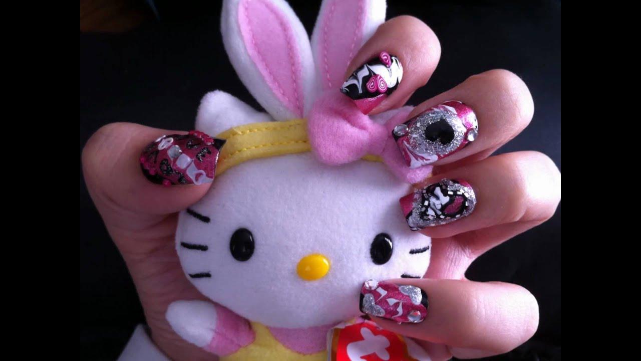 Valentines Nail Art Pink And Black Rockstar Nails Diseoarte En