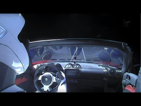 SpaceX streams video of Tesla Roadster floating through space