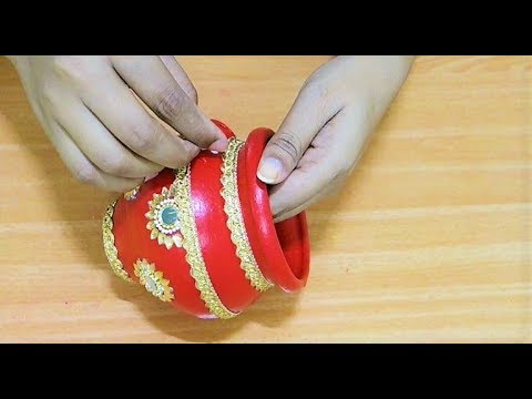 how to decorate karva at home | karva chauth 2018 | pot decoration | Easy pot Painting