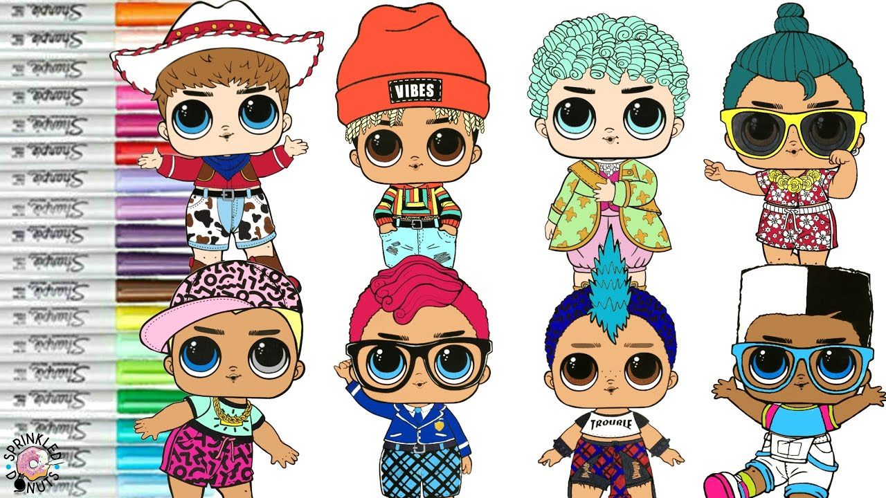 LOL Surprise Dolls Boys Collection Coloring Book Page Sunny Smarty Pants  Punk Boy Scribbles Luau