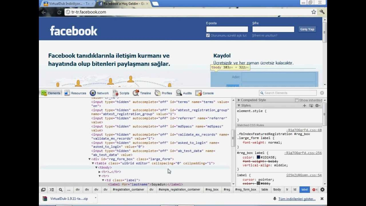 facebook şifre kırma öğeyi denetle yok