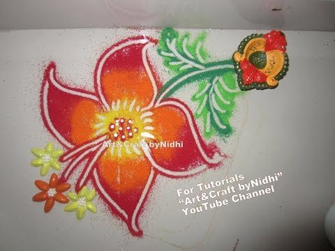 Easy NEW Tips for Shaded Flower DIWALI Rangoli Design Art Decoration Tutorial for Beginners - 동영상