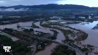 Les images de Roquebrune-sur-Argens inondée filmées depuis l'hélicoptère BFMTV