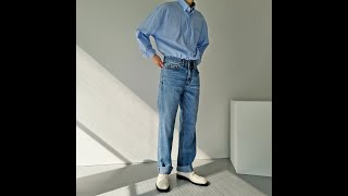 남자 옥스포드 세미 오버 셔츠, 레귤러 핏 롱 데님 팬…