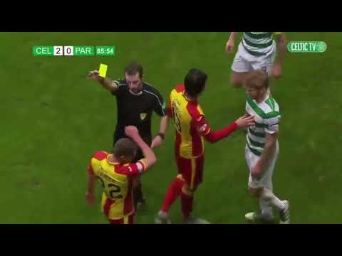 Partick Thistle's Gary Fraser kicks ball into crowd hurting a supporter