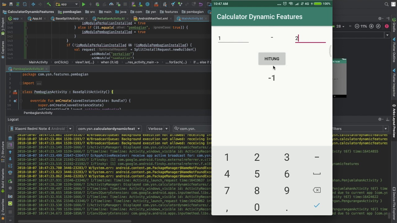 Calculator Dynamic Features with Android App Bundle
