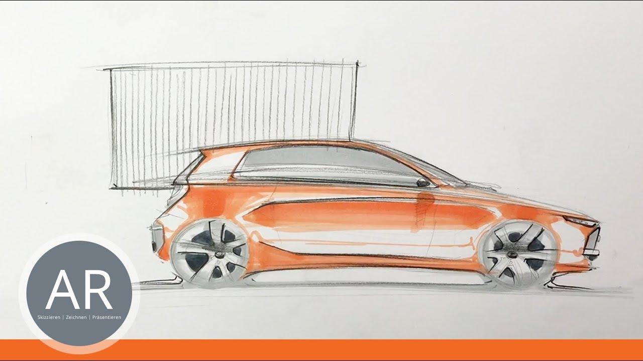Teil 2, Kompaktklasse-Auto-Studie. Autos zeichnen lernen ...
