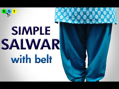 Simple Salwar with Belt- Cutting & Stitching